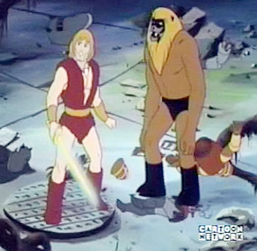 Thundarr the Barbarian and Ookla in a tunnel