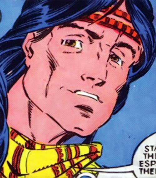 Thunderbird (James Proudstar) of the Hellions (Marvel Comics) face closeup with headband