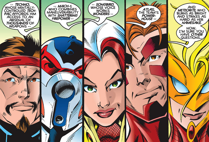 Face closeups for the very first roster of Thunderbolts (Marvel Comics)