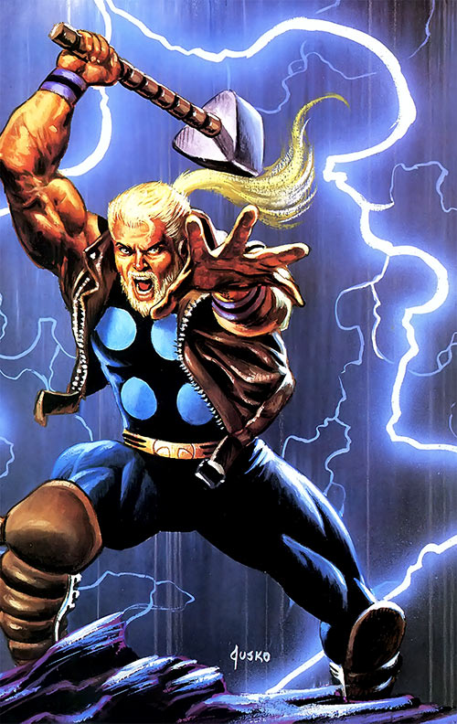Thunderstrike (Marvel Comics) Joe Jusko masterpieces painting with lightning