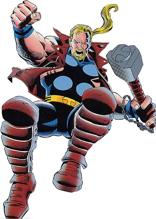 Thunderstrike of the Avengers (Marvel Comics) jumping down