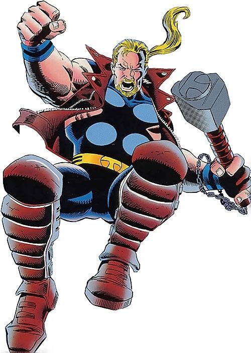 Thunderstrike of the Avengers (Marvel Comics) jumping down
