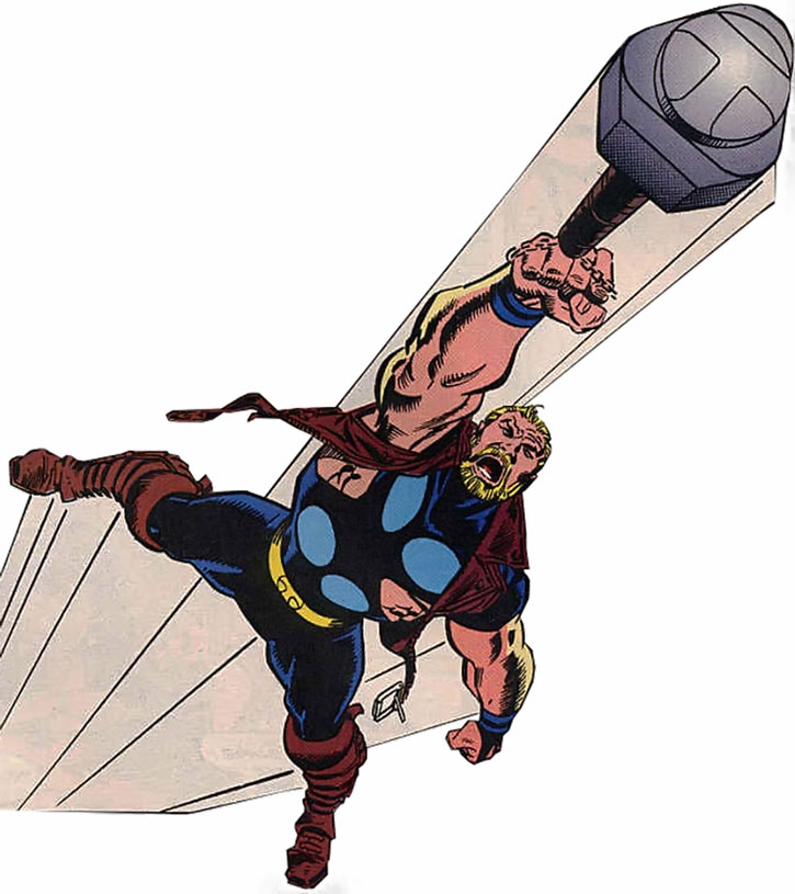 Thunderstrike (Eric Masterson) flying over a white background