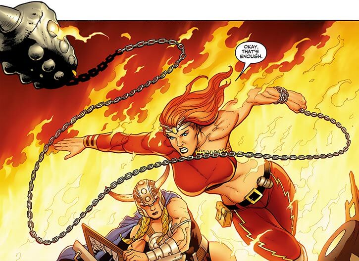 Thundra and Valkyrie among the flames