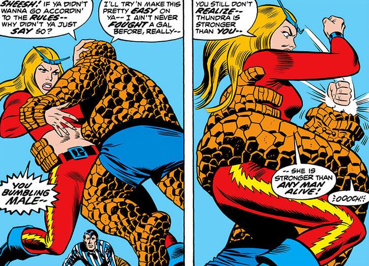 Thundra (Marvel Comics) clobbers the Thing 1970s