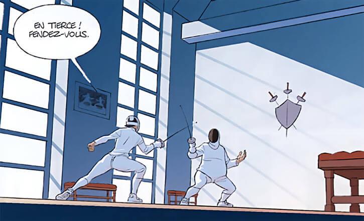 Tiffany d'Arc - Comics bande dessinée - Yann and Herval - Fencing scene salle