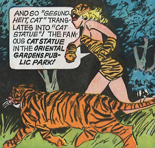 Tiger Girl (Golden Key comics) running in the park with Kitten