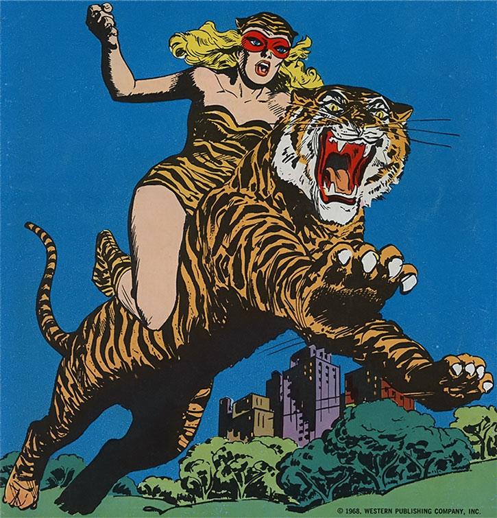 Tiger Girl (Lilly Taylor) riding her tiger Kitten