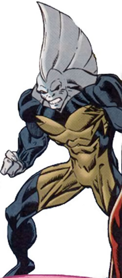 Tiger Shark (Namor enemy) (Marvel Comics) (Modern) with gray skin and clenched fists