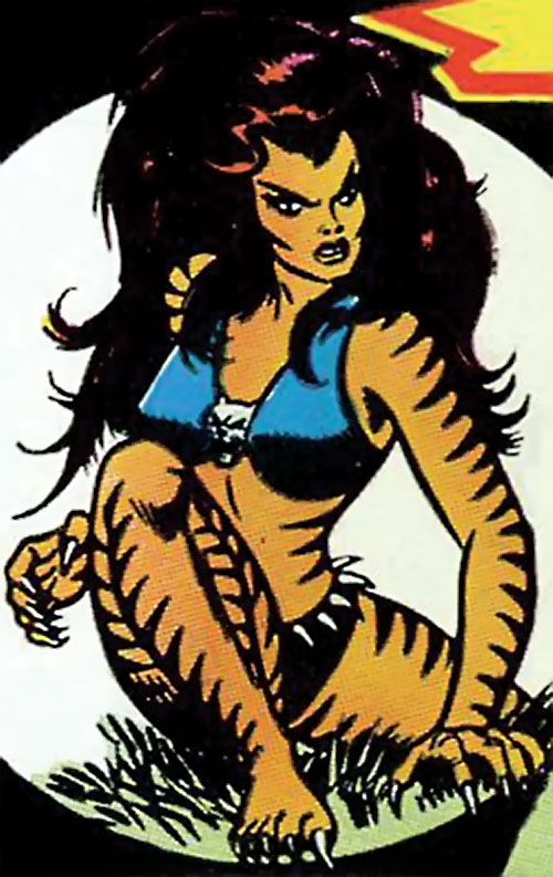 Tigra (Marvel Comics) (Profile #3) crouching in the grass