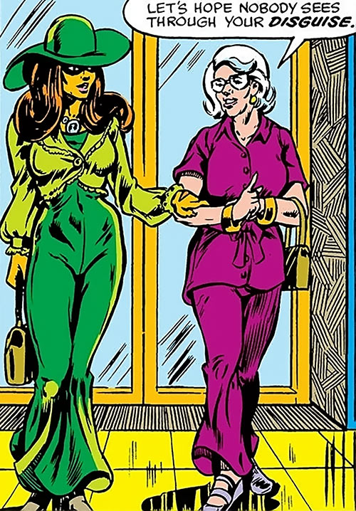Tigra (Marvel Comics) (Profile #3) in a green late 1970s outfit, with Tumolo
