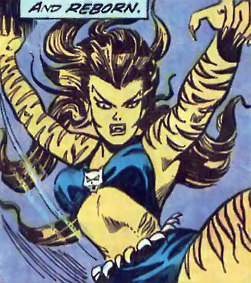 Tigra (Marvel Comics) (Profile #3) leaping forward with claws out