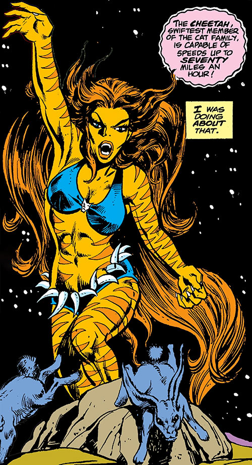 Tigra (Marvel Comics) (Profile #3) scaring rabbits in the night