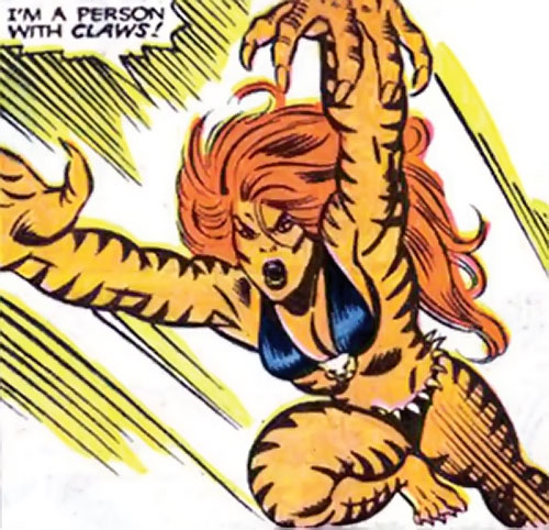Tigra of the Avengers West Coast (Marvel Comics) leaping into battle