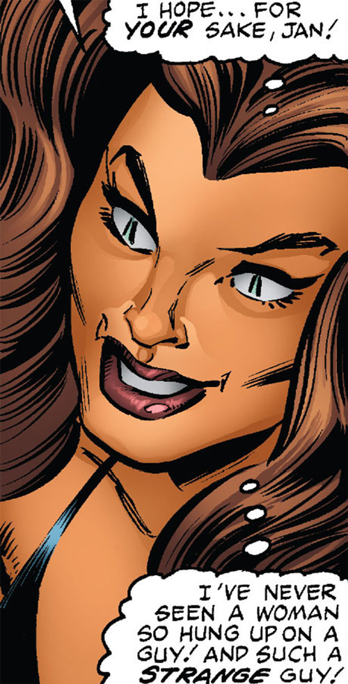 Tigra of the Avengers West Coast (Marvel Comics) face closeup with slitted eyes
