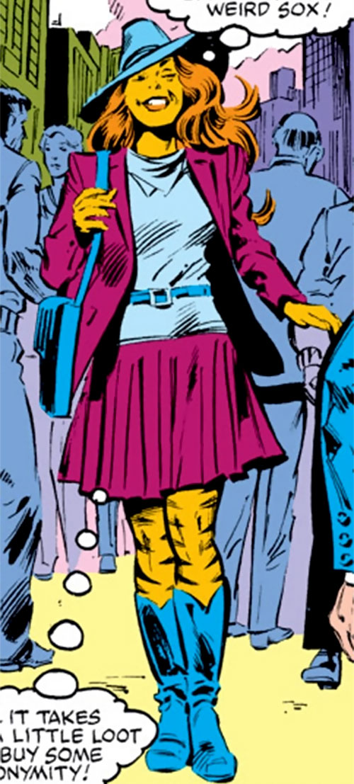 Tigra of the Avengers West Coast (Marvel Comics) in violet and blue clothing