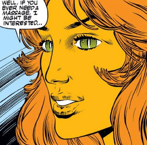 Tigra of the Avengers West Coast (Marvel Comics) smiling face closeup