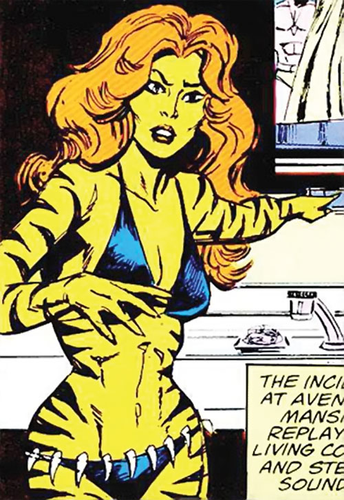 Tigra of the Avengers West Coast (Marvel Comics) near a sink