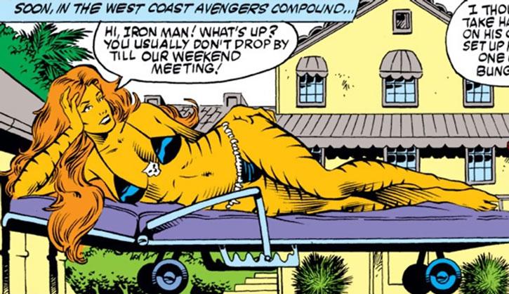 Tigra (Greer Nelson) sunbathing