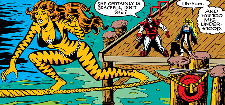 Tigra (Greer Nelson) runs on a rope