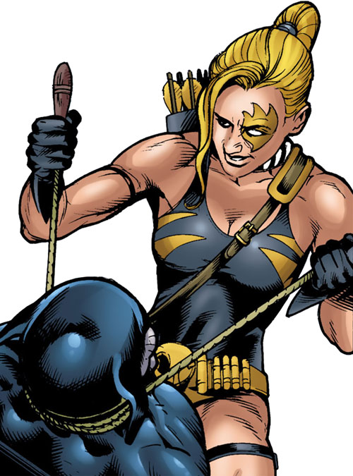 Tigress of the Injustice Society (Crock) (JSA enemy) (DC Comics) strangling Wildcat