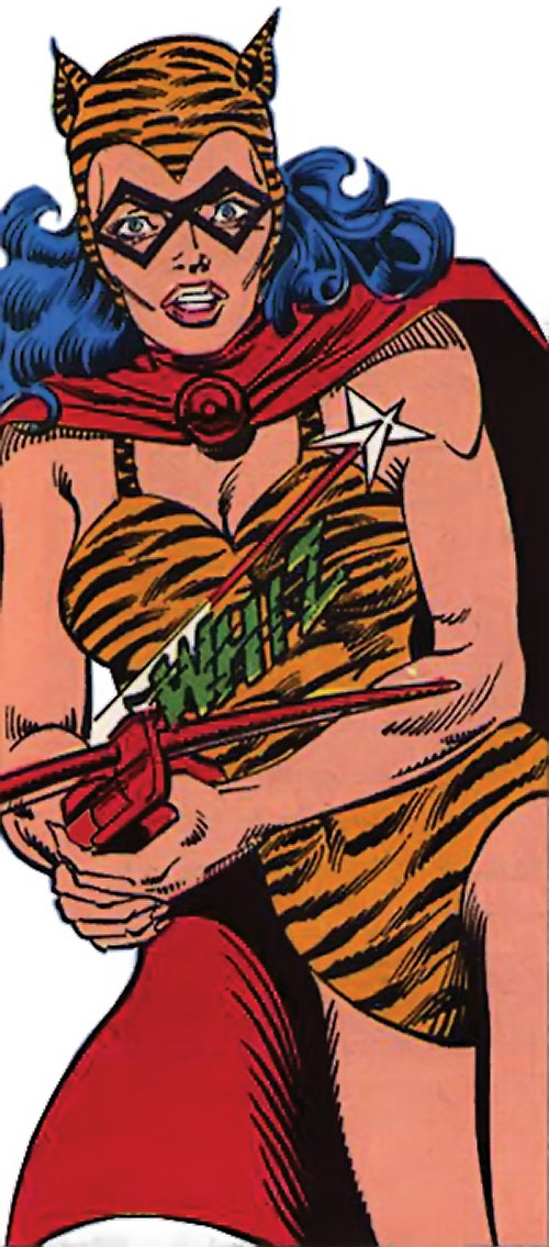 Tigress of the Young All-Stars (DC Comics) (Brooks) shooting a crossbow bolt