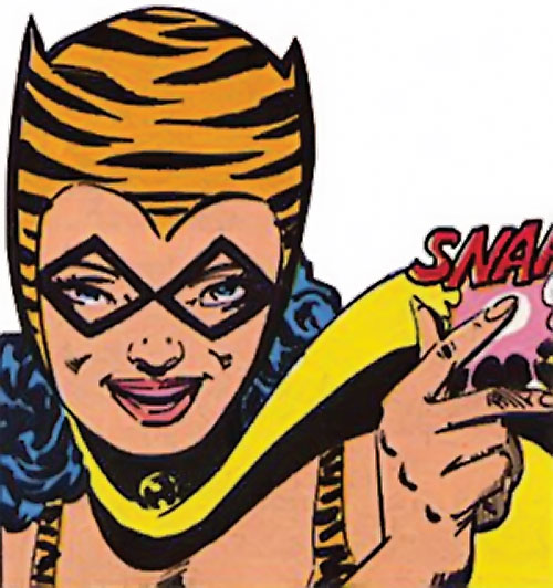 Tigress of the Young All-Stars (DC Comics) (Brooks) face closeup snapping fingers