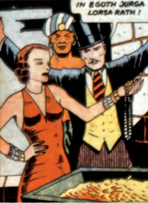 Tigress (Zatara character) (DC Comics Golden Age) with the magician and a treasure chest