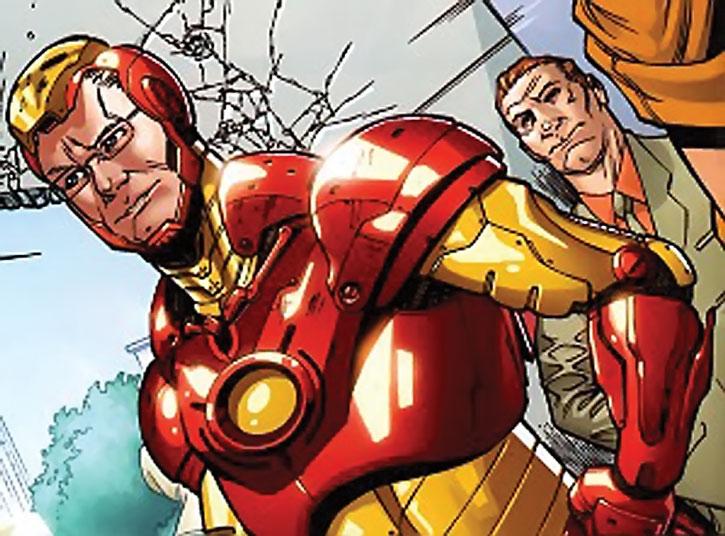 Tim Gunn wearing an Iron Man suit