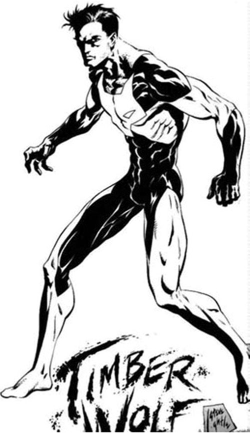 Timber Wolf (Legion of Super-Heroes) B&W art