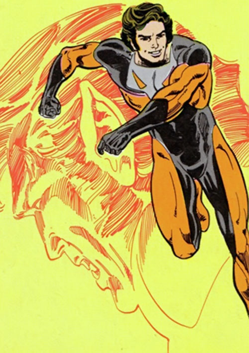 Timber Wolf (Legion of Super-Heroes) over a yellow background