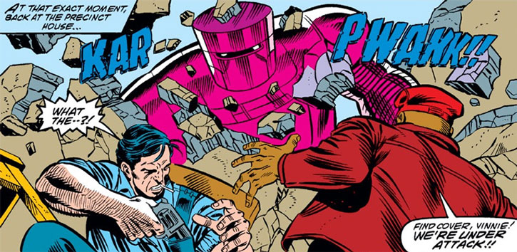 Doctor Doom's Time-Bot attacks a precinct house