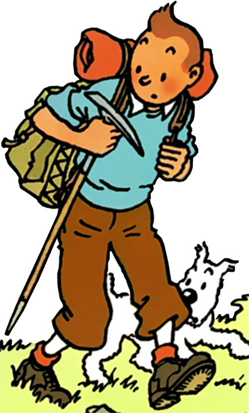 Tintin hiking in the mountains
