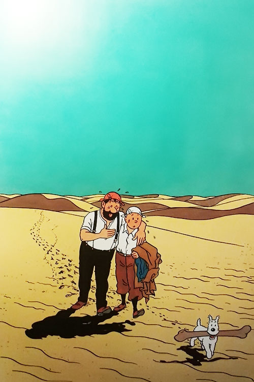 Tintin, Haddock and Snowy in the desert