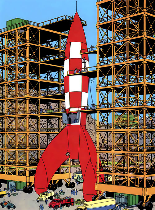 Tintin moon rocket red and white