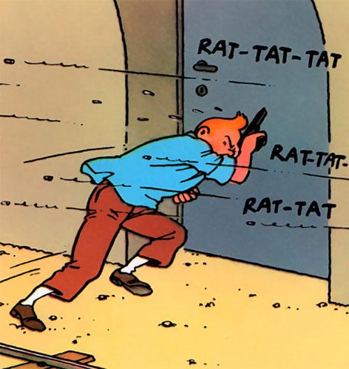 Tintin dodging gunfire