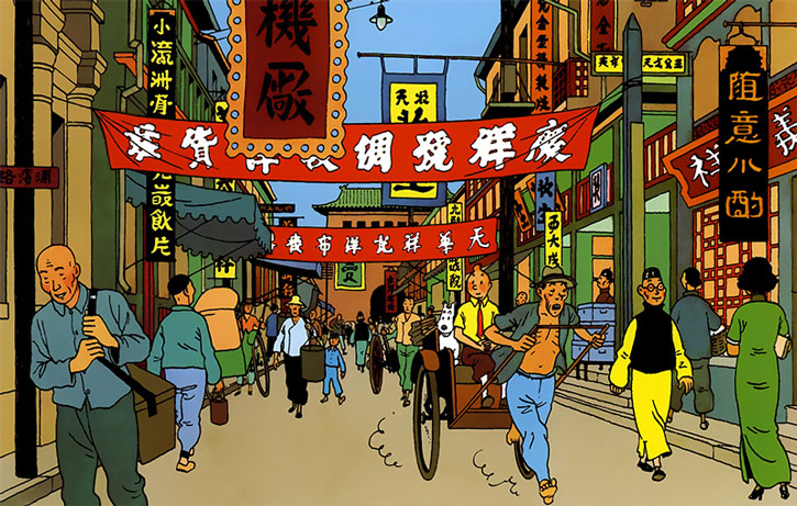 Tintin in a rickshaw in Shanghai
