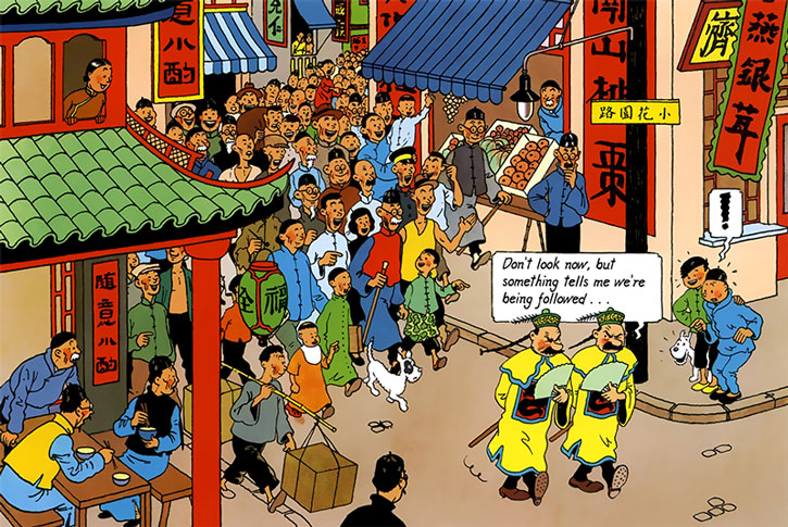 Tintin and Chang sees Thompson and Thomson in their terrible Chinese disguise