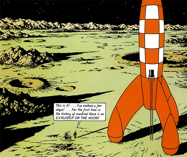 Tintin walking on the Moon, an dthe iconic rocket