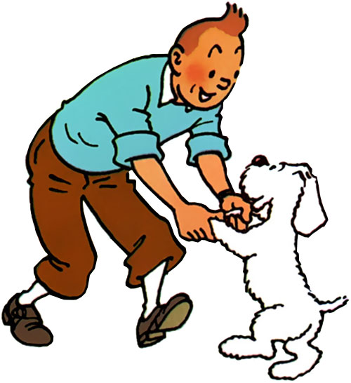 Tintin dancing with Snowy