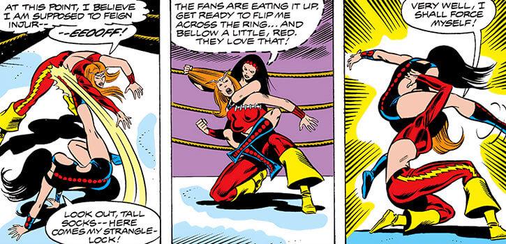 Titania a.k.a. Lascivious (Davida DeVito) (Marvel Comics) wrestling Thundra at the Madison Square Garden