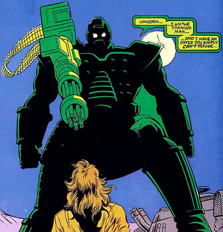 Titanium Man (Boris Bullski) with a large shoulder-mounted minigun