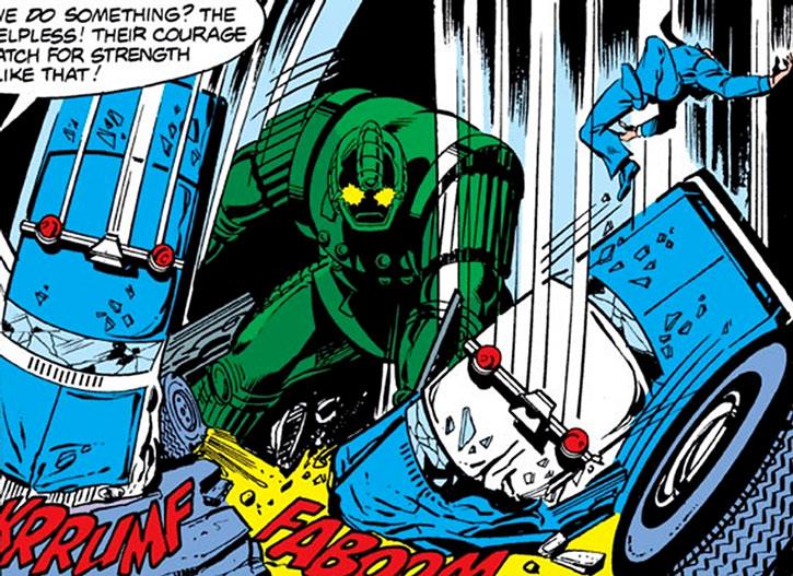Titanium Man (Boris Bullski) smashes two police cruisers