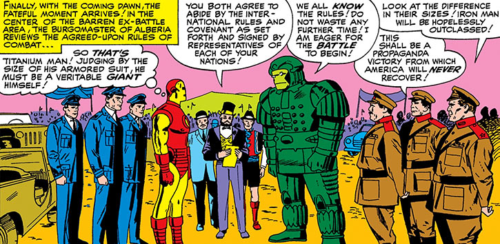 Titanium Man (Boris Bullski) about to duel Iron Man for the first time