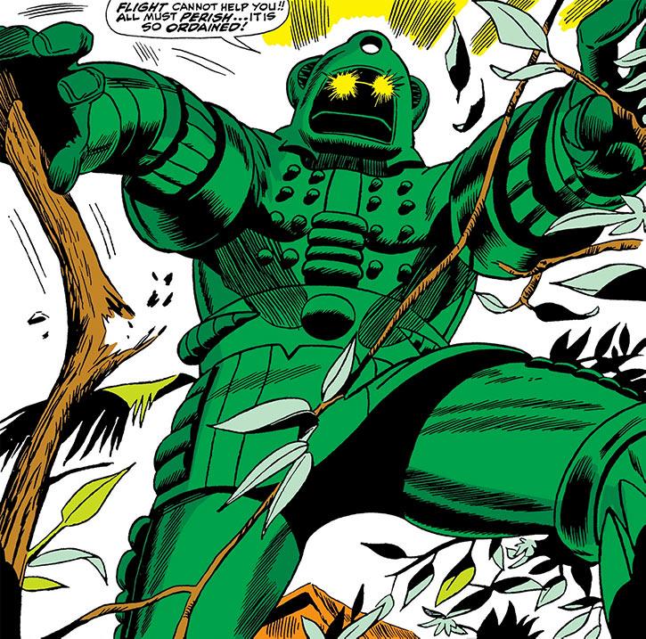 Titanium Man (Boris Bullski) crashing through trees (Marvel Comics)