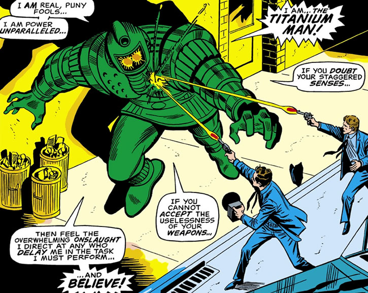 Titanium Man (Boris Bullski) ignoring police gunfire