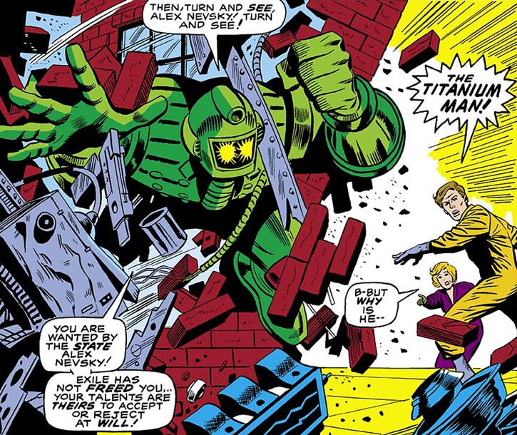 Titanium Man (Boris Bullski) crashing through a wall