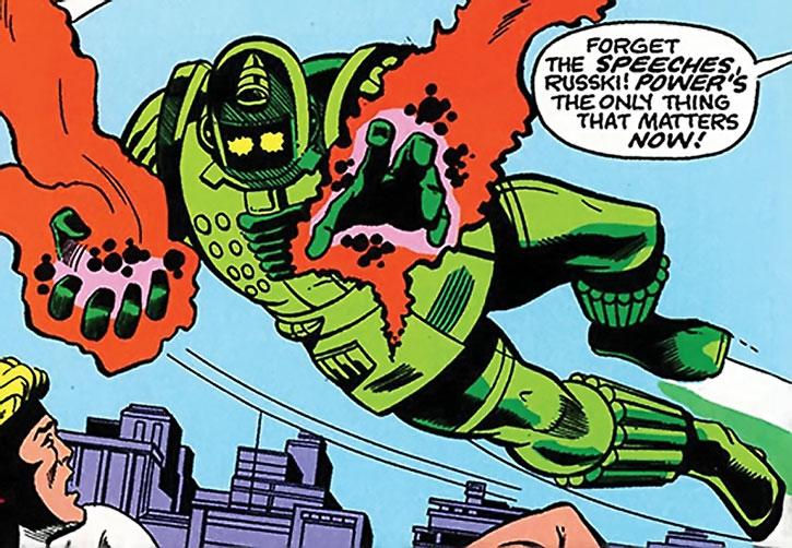 Titanium Man (Boris Bullski) flying with gauntlets charged with energy