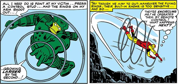The Titanium Man shooting radar rings at Iron Man