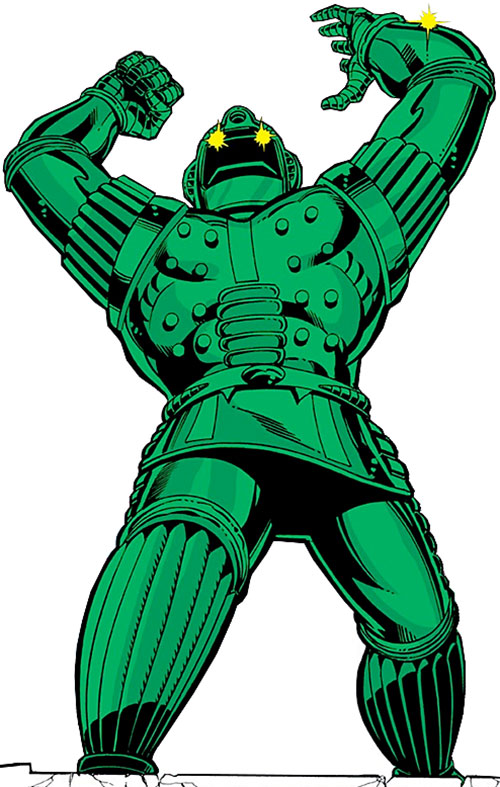 Titanium Man (Iron Man classic enemy) (Marvel Comics) with arms raised